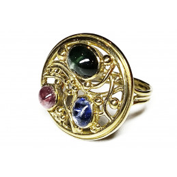 18 ct gold ring color saphirs