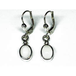 silver earrings  925 moonstone