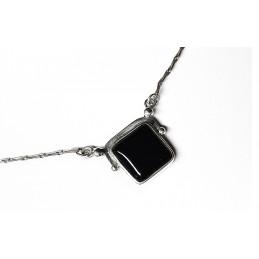 collier argent e onyx noire