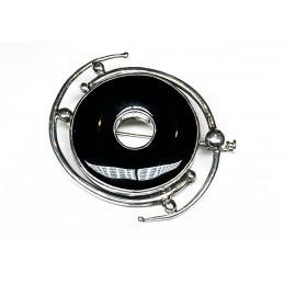 black onyx silver brooch