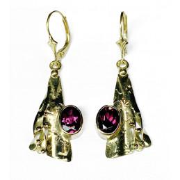 Garnets 18 ct gold earrings