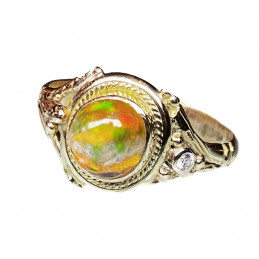 Fire opale 18 ct gold ring