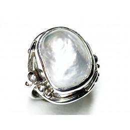 Barocco pearl silver ring